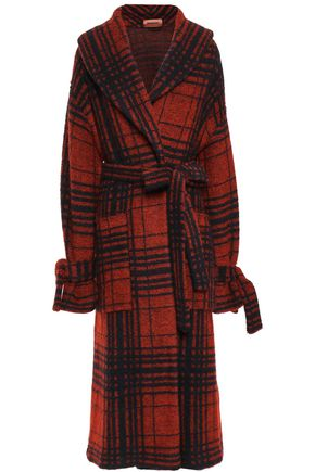 MISSONI Belted checked jacquard-knit cardigan