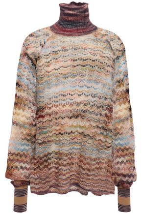 MISSONI Pointelle-trimmed marled crochet-knit turtleneck sweater