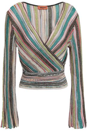 MISSONI Wrap-effect metallic crochet-knit top