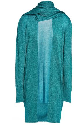 MISSONI Draped metallic stretch-knit cardigan