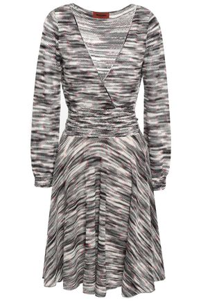 MISSONI Wrap-effect marled open-knit wool dress