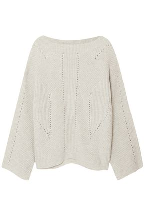 NILI LOTAN Leyton pointelle-trimmed ribbed cashmere sweater