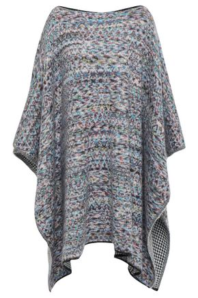 MISSONI Asymmetric jacquard-knit wool-blend poncho