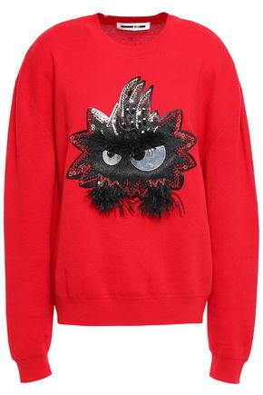 McQ Alexander McQueen Feather-trimmed appliquéd cotton sweater
