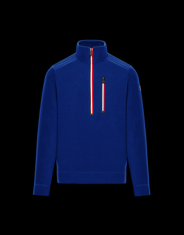 ZIPPED MOCK POLO NECK Blue Sweatshirts