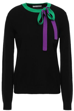 CHINTI & PARKER Pussy-bow cashmere and wool-blend sweater