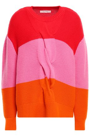 CHINTI & PARKER Color-block cable-knit wool and cashmere-blend sweater
