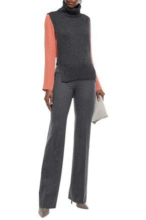 Etro Woman Tie-Back Knitted Turtleneck Vest Dark Gray