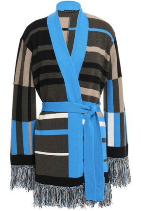 ETRO Belted fringe-trimmed intarsia-knit cardigan