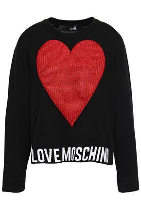 LOVE MOSCHINO Metallic intarsia cotton sweater