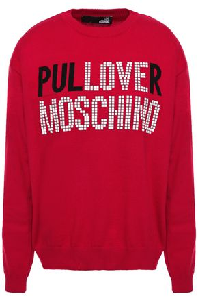 LOVE MOSCHINO Appliquéd intarsia cotton sweater