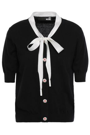 LOVE MOSCHINO Pussy-bow cotton and cashmere-blend cardigan