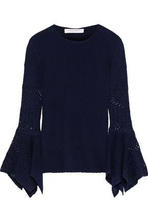 CAROLINA HERRERA Crochet knit-paneled ribbed wool sweater