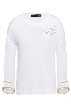 LOVE MOSCHINO Fluted crystal-embellished knitted sweater