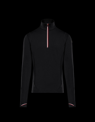 ZIPPED MOCK POLO NECK Black Sweatshirts