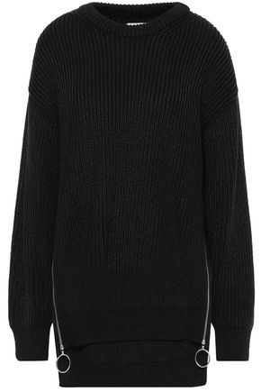 PACO RABANNE Metallic ring-embellished ribbed cotton-blend sweater