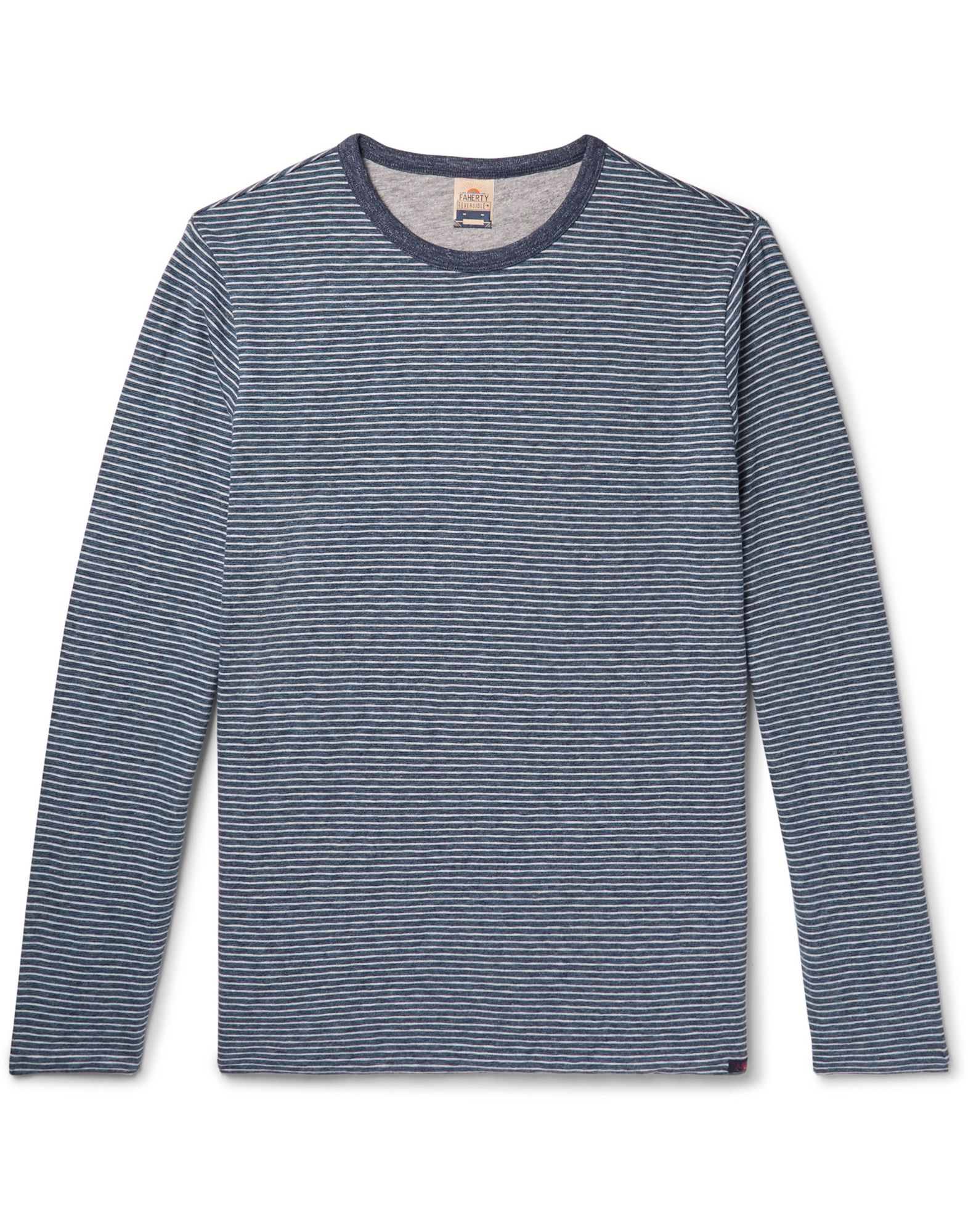 FAHERTY Sweaters. knitted, logo, stripes, round collar, lightweight sweater, long sleeves, no pockets. 80% Organic cotton, 20% Polyester