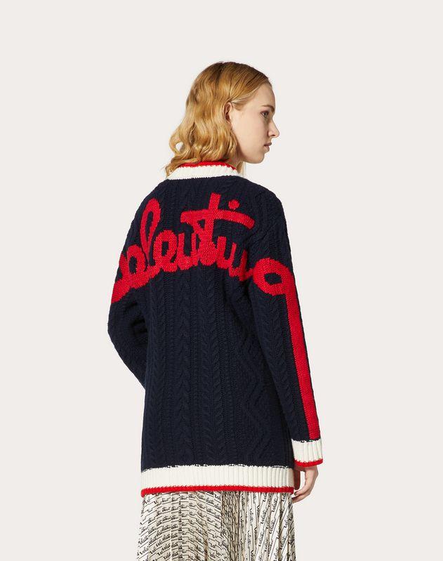 Cardigan aus Wolle/Kaschmir mit Valentino-Signatur-Stickerei