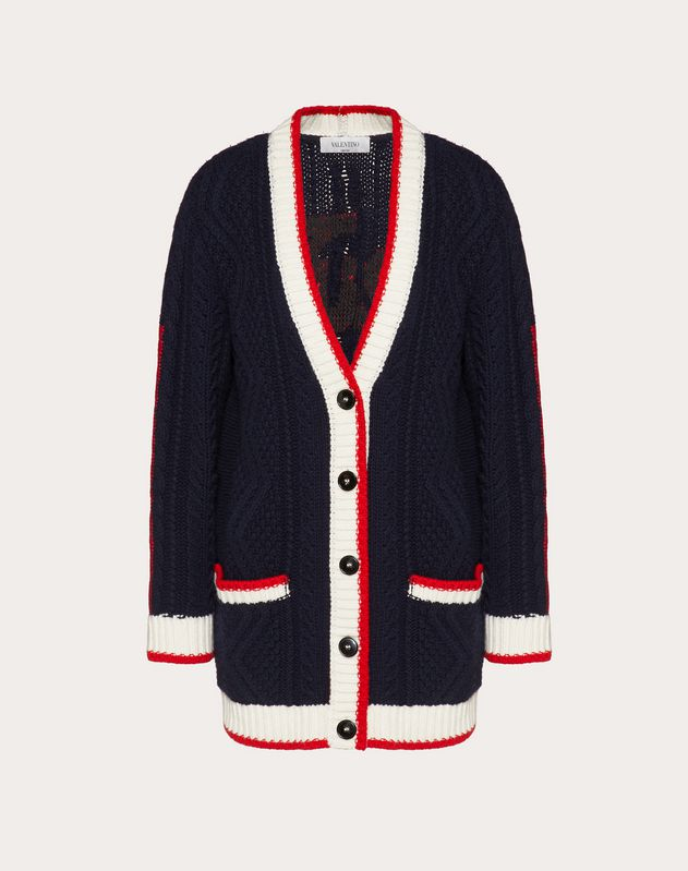 Valentino Signature Embroidered Cashmere and Wool Cardigan