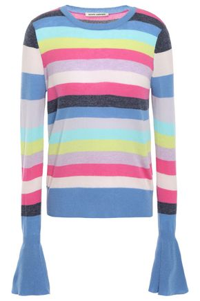 AUTUMN CASHMERE Fluted striped cashmere sweater