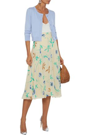 Oscar De La Renta Tops OSCAR DE LA RENTA WOMAN CASHMERE AND SILK-BLEND CARDIGAN SKY BLUE