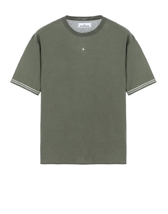 STONE ISLAND 525A9 Short sleeve jumper Man Olive Green