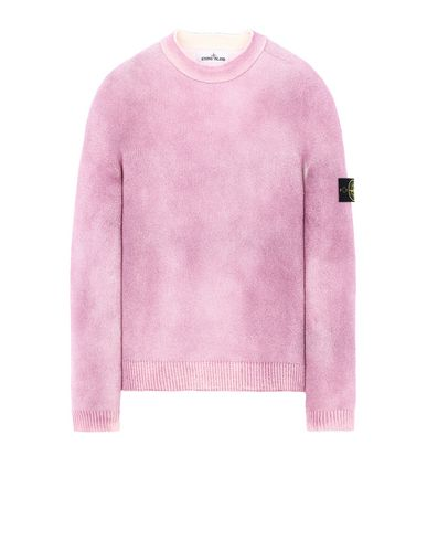 STONE ISLAND 543B7 HAND SPRAYED TREATMENT  Long sleeve sweater Man Pink Quartz EUR 324