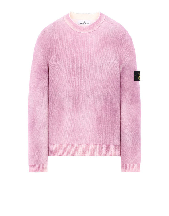 STONE ISLAND 543B7 HAND SPRAYED TREATMENT  Long sleeve jumper Man Pink Quartz