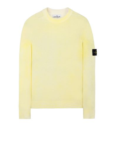 STONE ISLAND 543B7 HAND SPRAYED TREATMENT  Tricot Homme Citron EUR 313