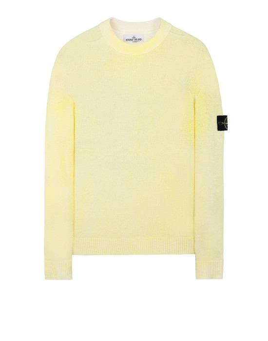 STONE ISLAND 543B7 HAND SPRAYED TREATMENT  Jersey Hombre Limón