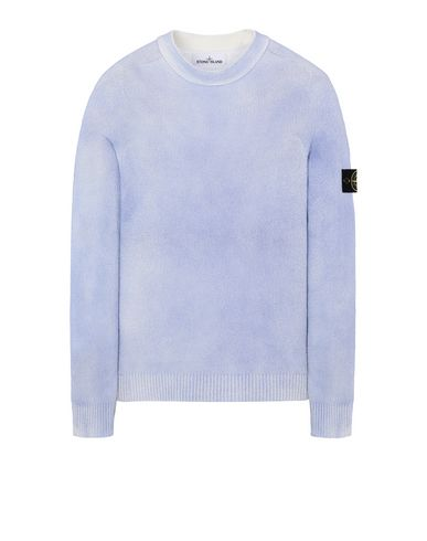 STONE ISLAND 543B7 HAND SPRAYED TREATMENT  Sweater Man Baby Blue EUR 309