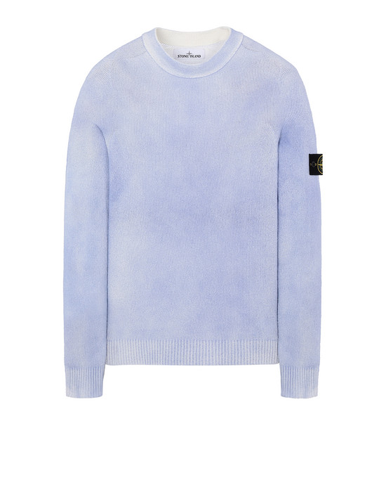 STONE ISLAND 543B7 HAND SPRAYED TREATMENT  Sweater Man Pale Blue