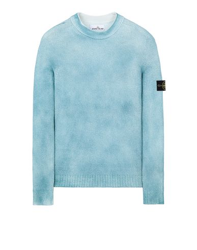 STONE ISLAND 543B7 HAND SPRAYED TREATMENT  Long sleeve jumper Man Turquoise EUR 290