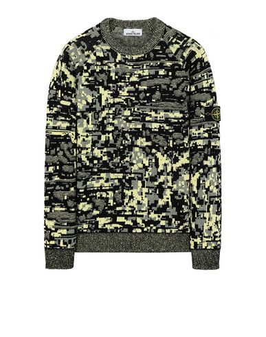 STONE ISLAND 529D1 MIXED YARNS TWISTED PIXEL CAMO Sweater Man Black EUR 368