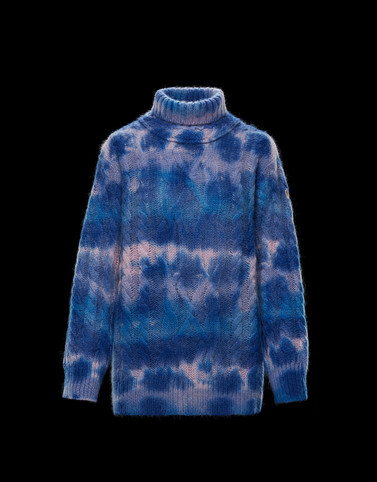 HIGH NECK Blue Knitwear Woman