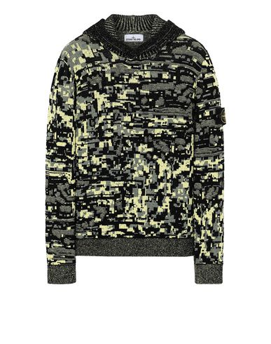 STONE ISLAND 557D1 MIXED YARNS TWISTED PIXEL CAMO Sweater Man Black EUR 449