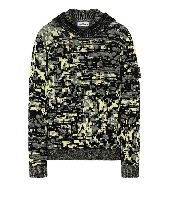 STONE ISLAND 557D1 MIXED YARNS TWISTED PIXEL CAMO Sweater Man Black