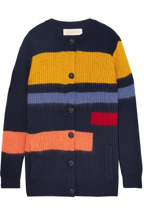 TORY BURCH Color-block ribbed wool-blend cardigan