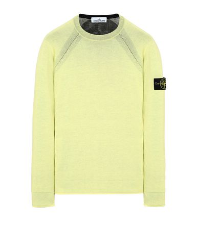 STONE ISLAND 521B5 REVERSIBLE KNIT Sweater Man Lemon EUR 221