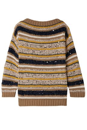 BRUNELLO CUCINELLI Striped sequined cotton-blend sweater