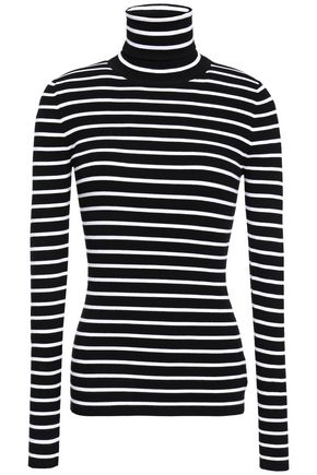 MICHAEL KORS COLLECTION Striped ribbed-knit turtleneck top