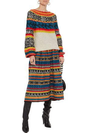 MES DEMOISELLES Goyave brushed Fair Isle knitted sweater