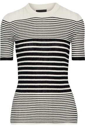 ATM ANTHONY THOMAS MELILLO Ribbed striped silk and cashmere-blend top