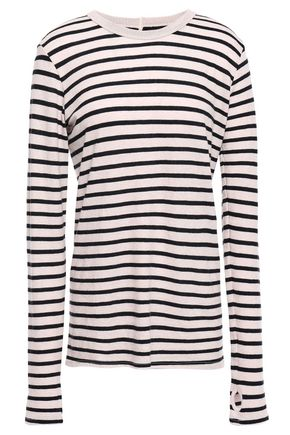 ENZA COSTA Striped cotton and cashmere-blend sweater