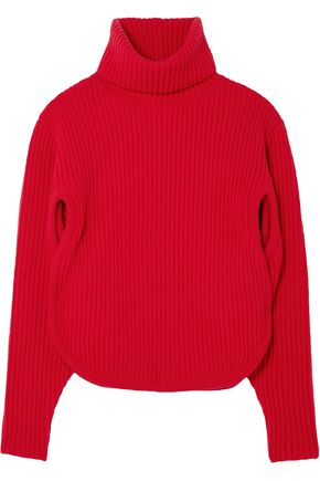 ANTONIO BERARDI Cutout ribbed wool and cashmere-blend turtleneck sweater