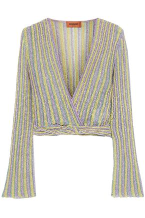 MISSONI Wrap-effect metallic striped knitted top