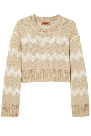 MISSONI Cropped hemp and cotton-blend  jacquard sweater