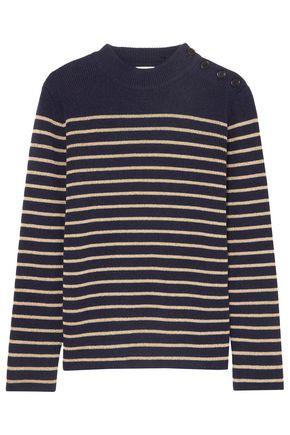 SAINT LAURENT Button-detailed striped wool-blend sweater