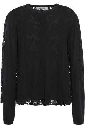 VALENTINO Paneled pleated wool and corded lace cardigan