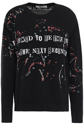 VALENTINO Embellished intarsia wool and cashmere-blend sweater